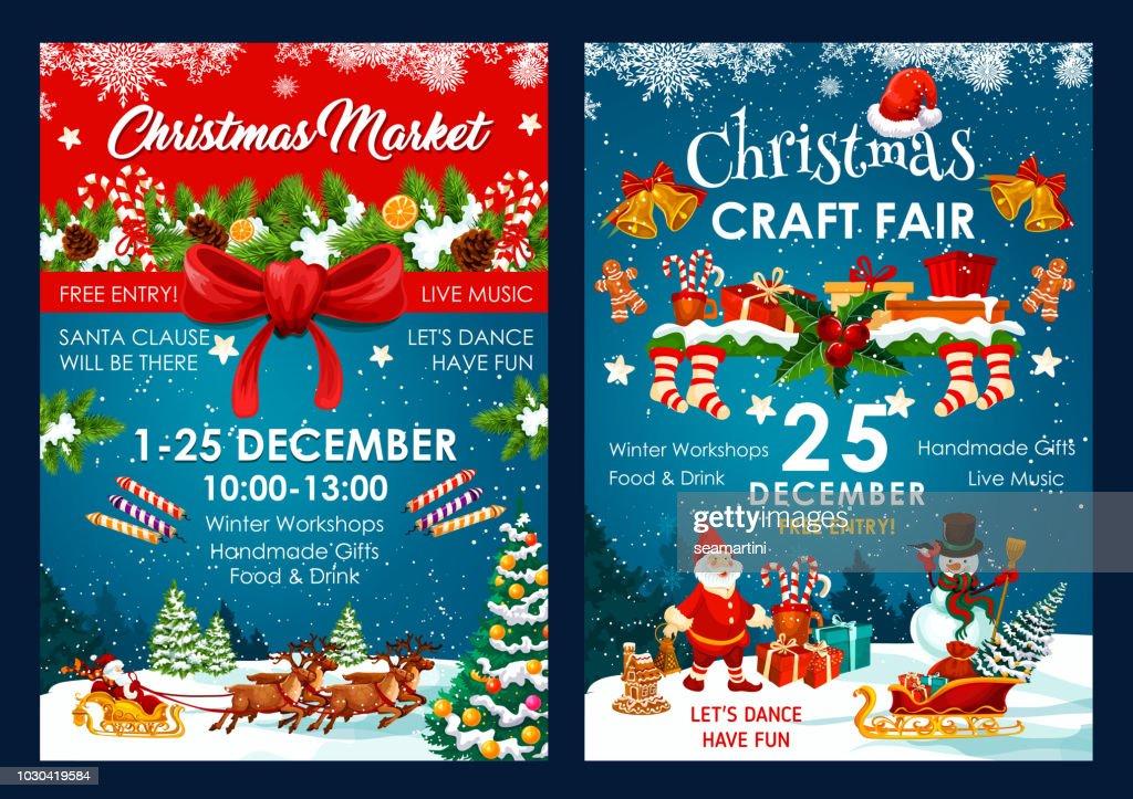 Christmas fair decoration vector posters