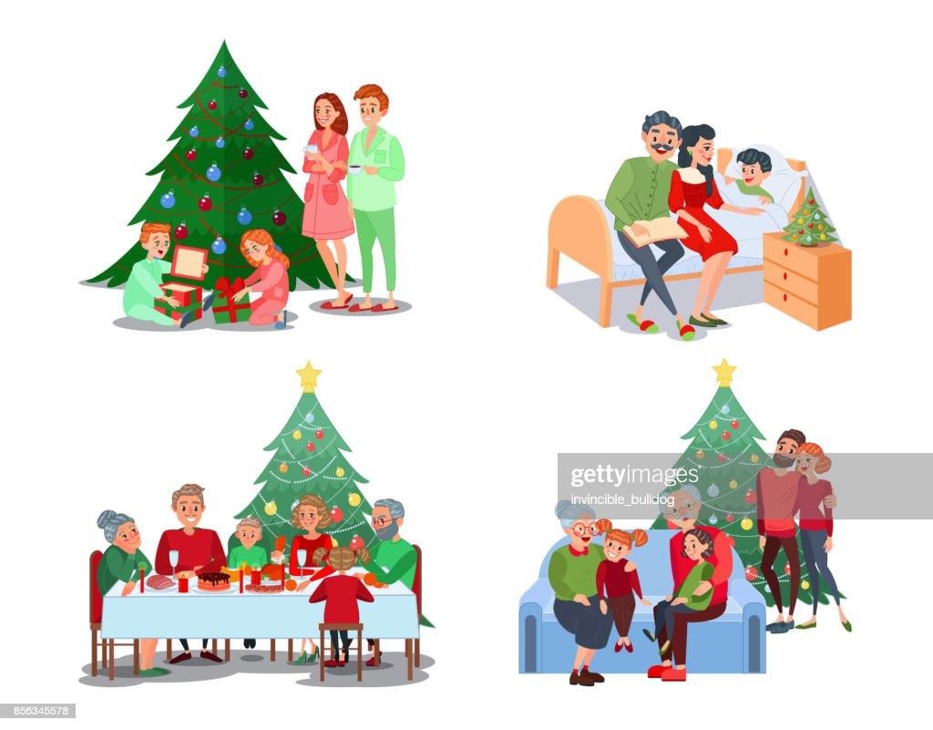 Christmas Family Scenes. Children Open Presents