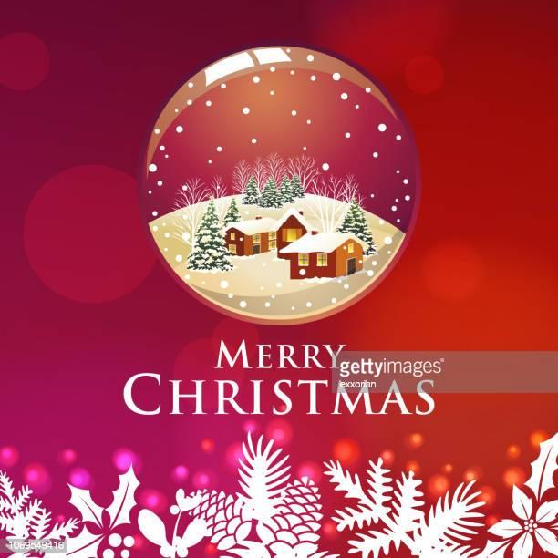 weihnachten-farm-house-schneekugel - tannenzweig stock-grafiken, -clipart, -cartoons und -symbole