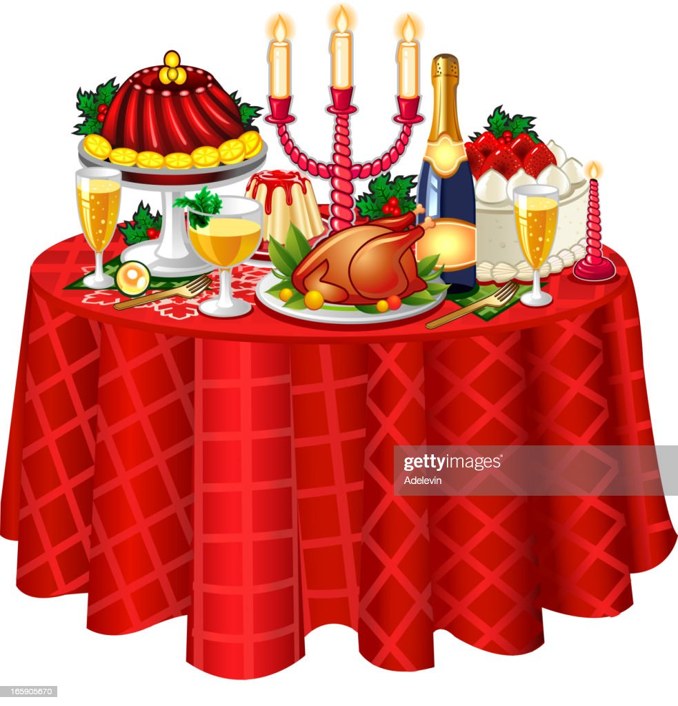 Christmas festive table : stock illustration