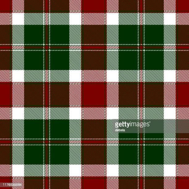 christmas festive tartan plaid textile pattern - tartan stock illustrations