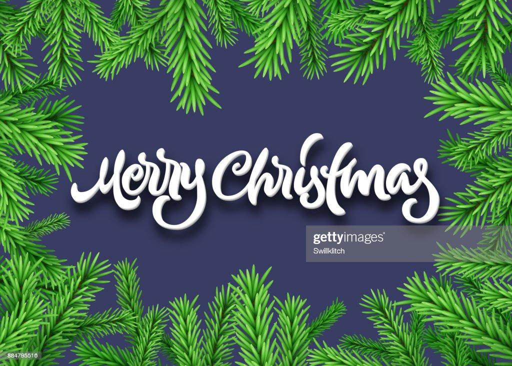 Frohe Weihnachten Rahmen.Weihnachtentanne Oder Fichte Rahmen Mit Kalligraphischen Schriftzug