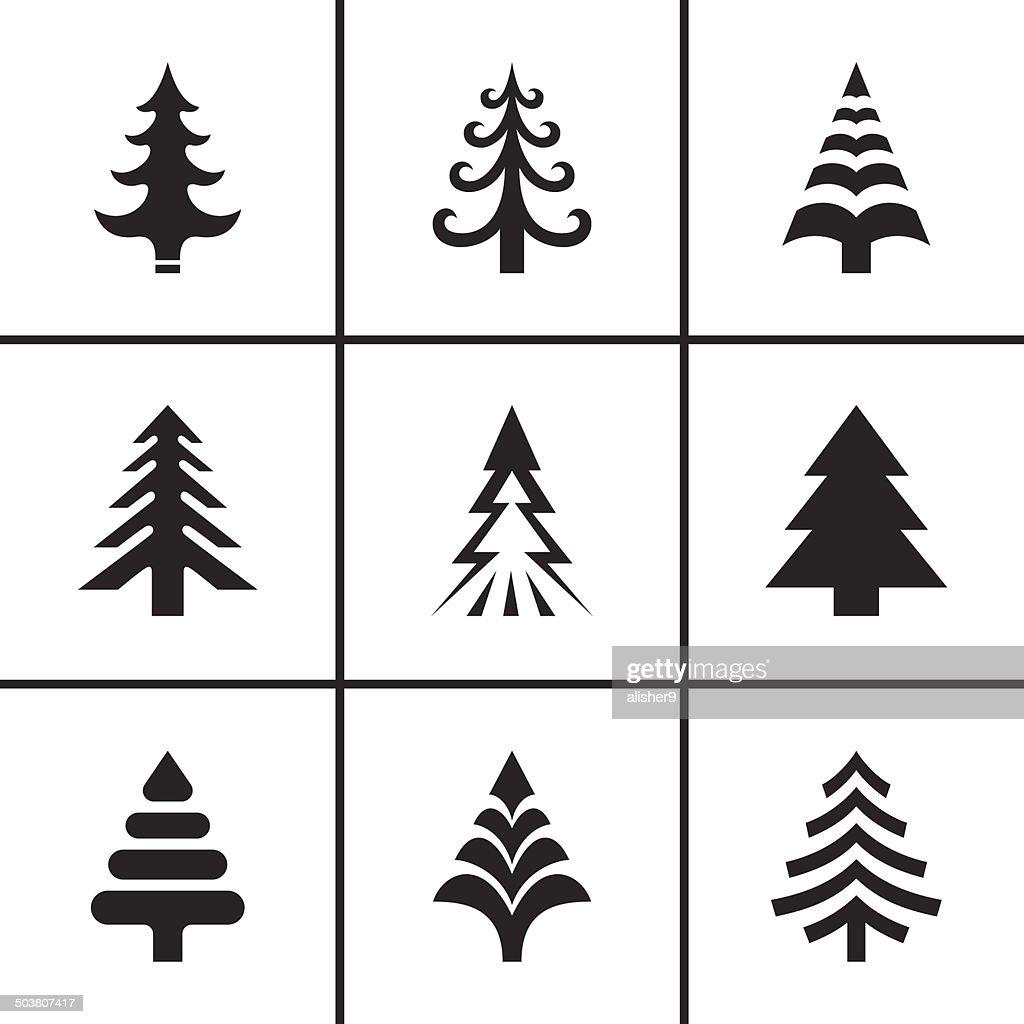 Christmas fir tree icons set