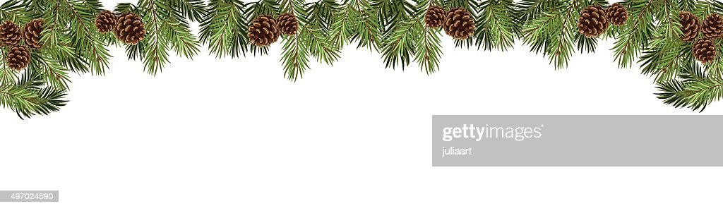 christmas fir tree in a form of a border
