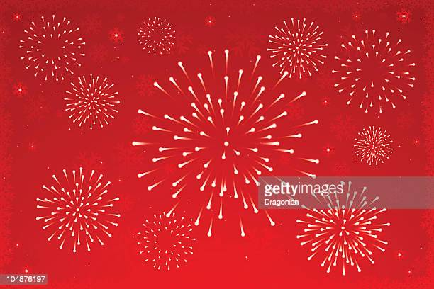 ilustraciones, imágenes clip art, dibujos animados e iconos de stock de navidad: fuegos artificiales - fuegos artificiales