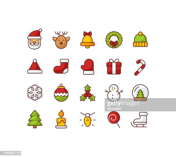 christmas flat color outline icons - christmas decore candle stock illustrations
