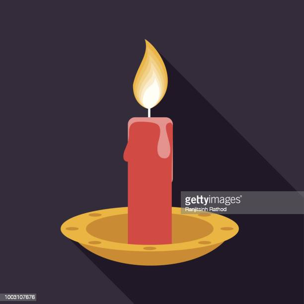christmas flat design icon: candle - candle stock illustrations