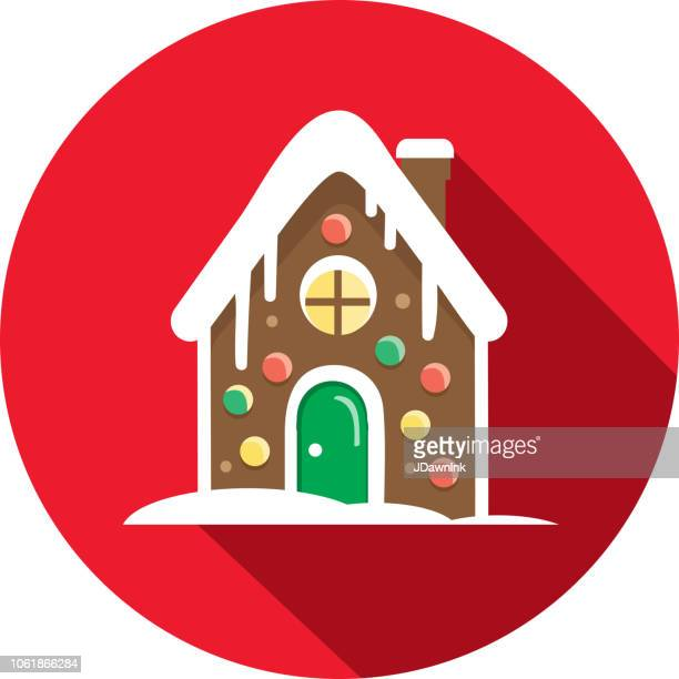 christmas flat design icon cute gingerbread house - gingerbread house stock illustrations, clip art, cartoons, & icons
