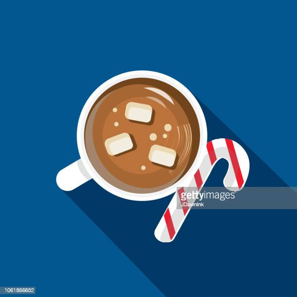 Christmas Flat Design Icon high angle view hot chocolate with marshmallows and candy cane