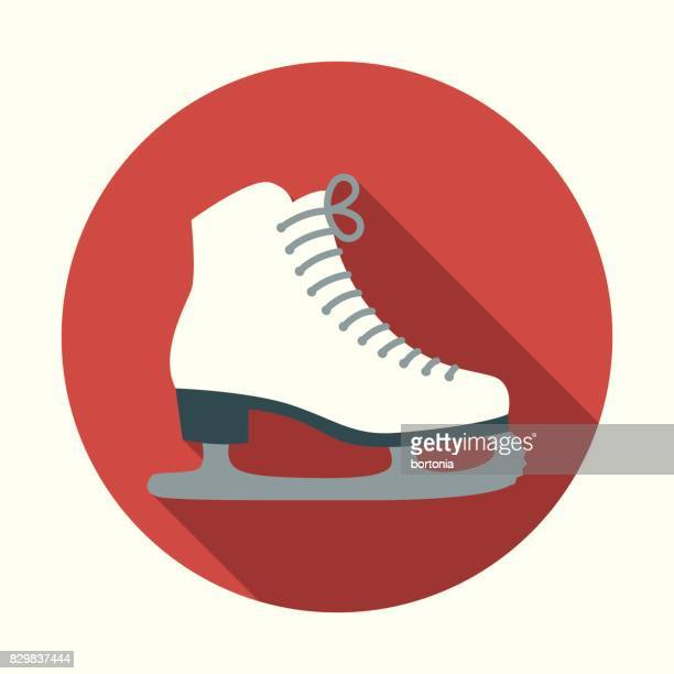christmas flat design icon: ice skates - ice skate stock illustrations, clip art, cartoons, & icons