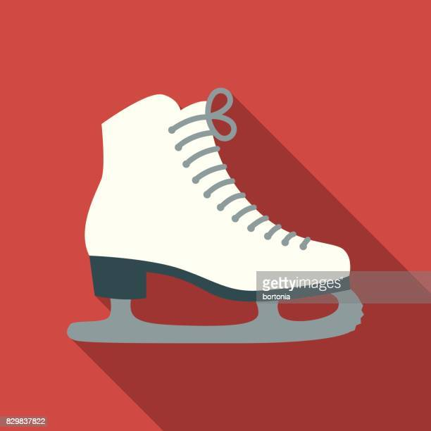 christmas flat design icon: ice skates - ice skating stock illustrations, clip art, cartoons, & icons