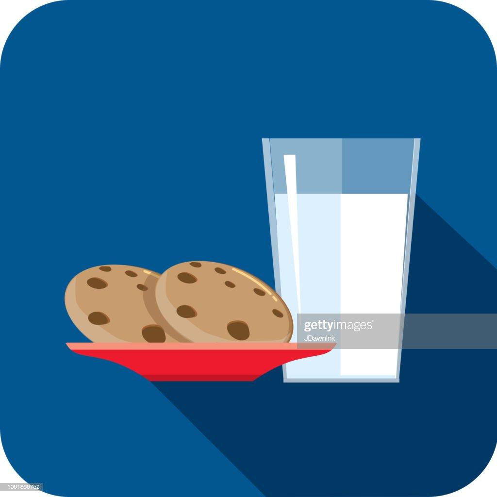 Christmas Flat Design Icon Milk and cookies : stock illustration