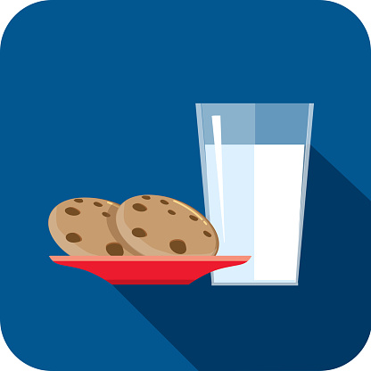 Christmas Flat Design Icon Milk and cookies - gettyimageskorea