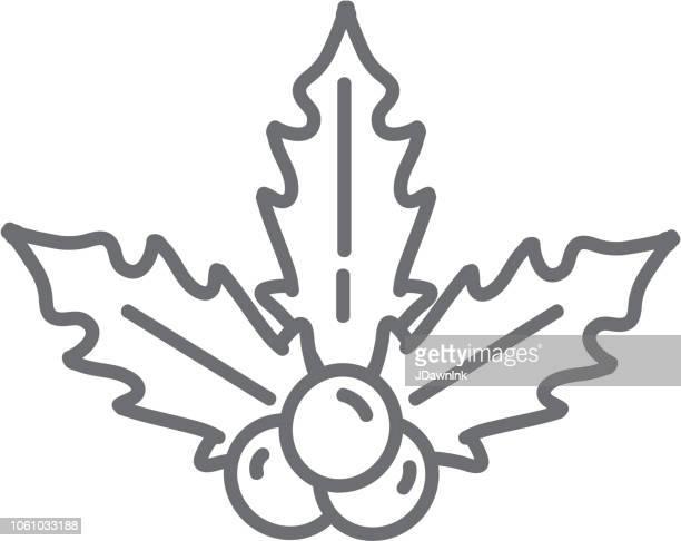 illustrations, cliparts, dessins animés et icônes de bouquet de houx noël plat design icon gui avec baies - houx