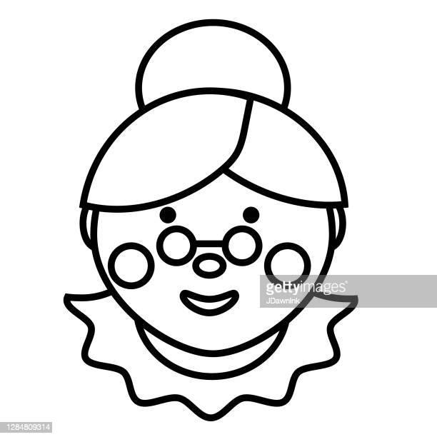 illustrazioni stock, clip art, cartoni animati e icone di tendenza di icona del design piatto di natale: signora claus - mamma natale
