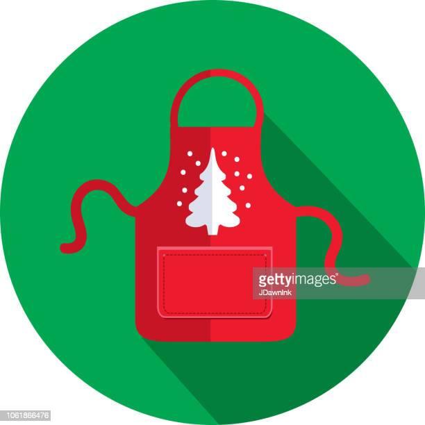 白いクリスマス ツリーとクリスマス フラット デザイン アイコン赤エプロン - エプロン点のイラスト素材/クリップアート素材/マンガ素材/アイコン素材