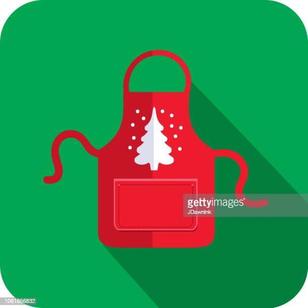 白いクリスマス ツリーとクリスマス フラット デザイン アイコン赤エプロン