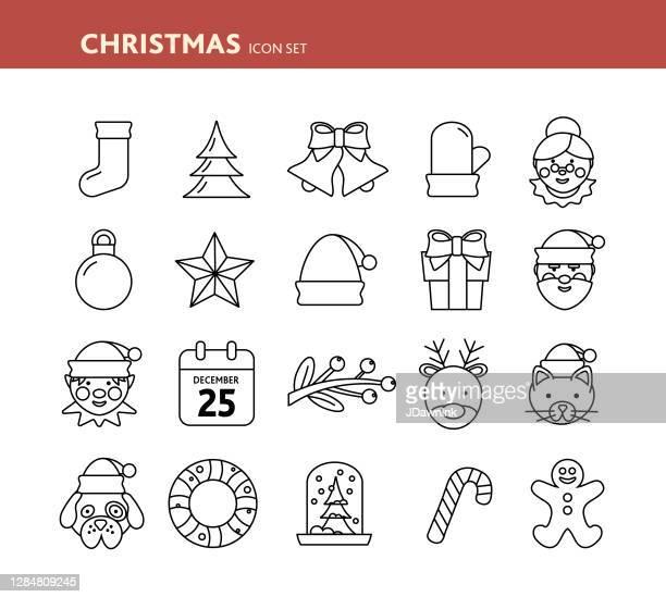 illustrazioni stock, clip art, cartoni animati e icone di tendenza di set di icone christmas flat design - mamma natale