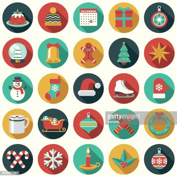 christmas flat design icon set - christmas wreath stock illustrations