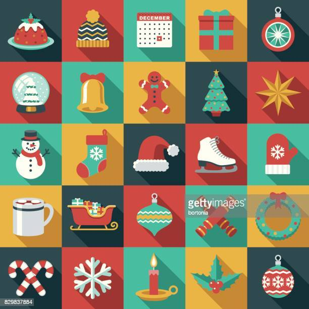 Weihnachten flaches Design Icon Set