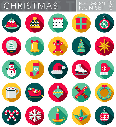 Christmas Flat Design Icon Set with Side Shadow - gettyimageskorea