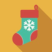 Christmas Flat Design Icon: Stocking