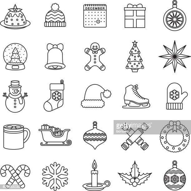 ilustraciones, imágenes clip art, dibujos animados e iconos de stock de icono de diseño plano de navidad - galletas navidad