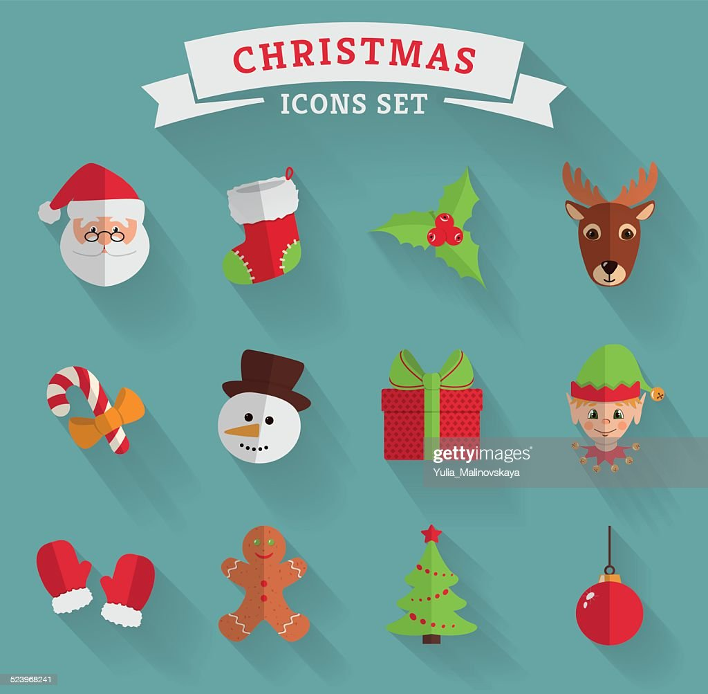 Christmas flat icons. Vector set.