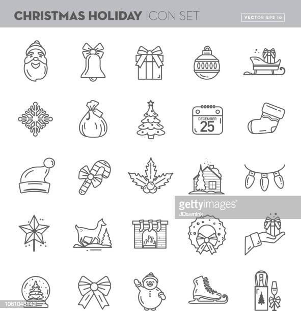 christmas flat outline line art design icon set - ice skate stock illustrations, clip art, cartoons, & icons