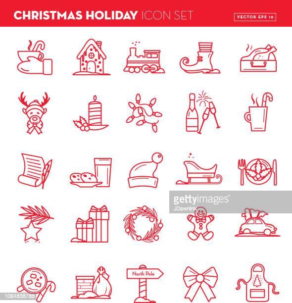 クリスマス フラット概要ライン アート デザイン アイコンを設定 - ローストターキー点のイラスト素材/クリップアート素材/マンガ素材/アイコン素材
