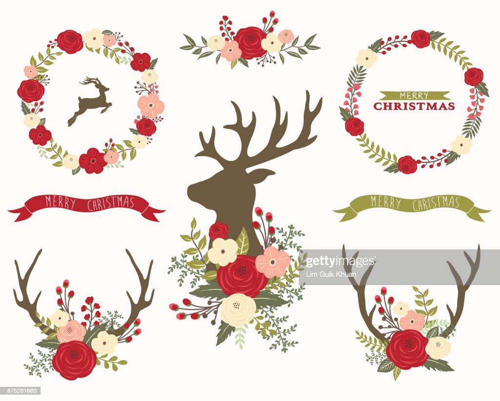 Christmas Floral Collection Sets Vector Art | Getty Images