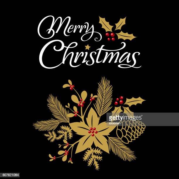 weihnachten dekoration mit blumenmuster - tannenzweig stock-grafiken, -clipart, -cartoons und -symbole