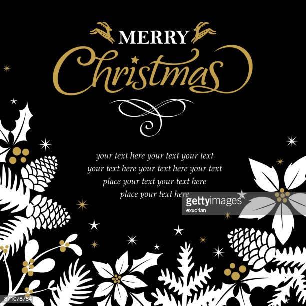 floral weihnachtsgrußkarte - tannenzweig stock-grafiken, -clipart, -cartoons und -symbole