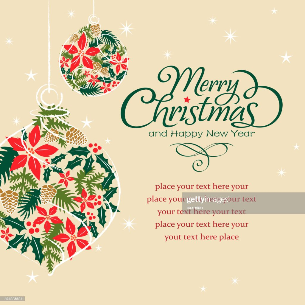 Christmas floral in bauble shape : Vector Art