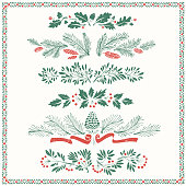 Christmas Floral Ornaments with Frame