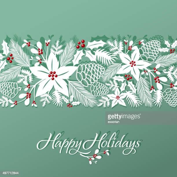 kunst weihnachten florales muster papercut - tannenzweig stock-grafiken, -clipart, -cartoons und -symbole