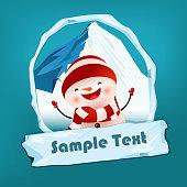Christmas flyer template. Jolly dancing snowman