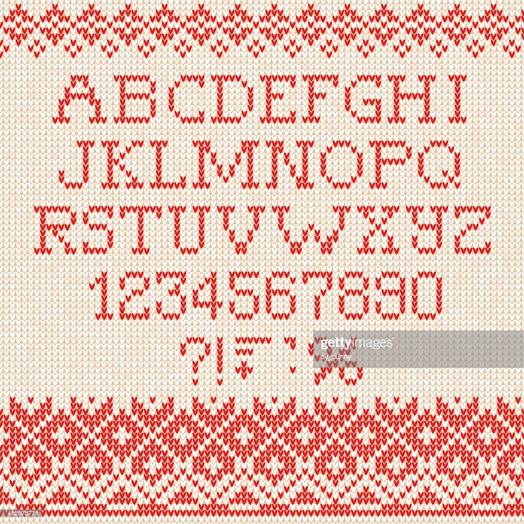 Christmas Font: Scandinavian style seamless knitted ornament pat
