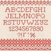 Christmas Font: Scandinavian style seamless knitted ornament pat