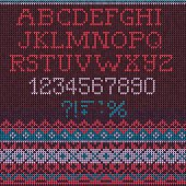 Christmas Font: Scandinavian style seamless knitted