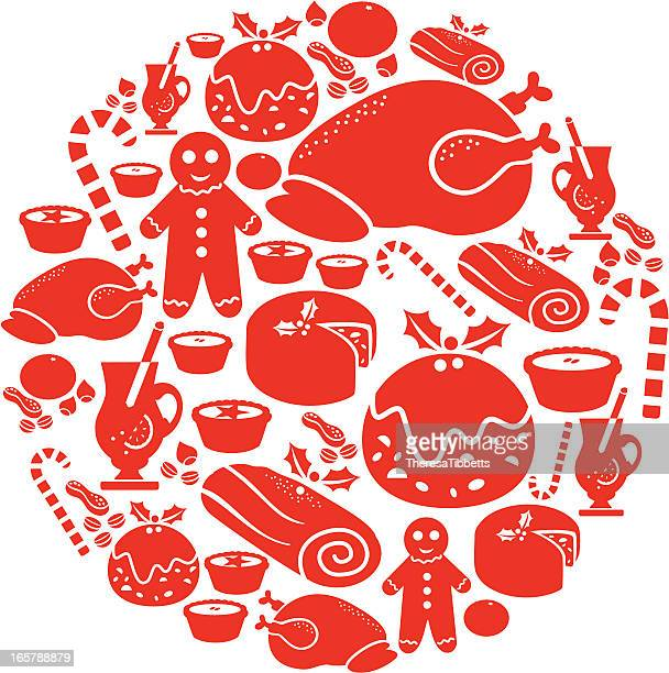 christmas food icon montage - mulled wine stock illustrations, clip art, cartoons, & icons