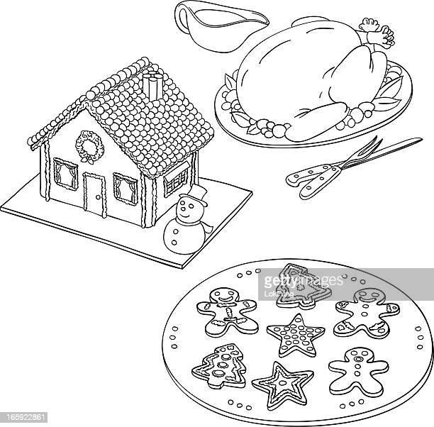 ilustraciones, imágenes clip art, dibujos animados e iconos de stock de comida de navidad en blanco y negro - pollo asado
