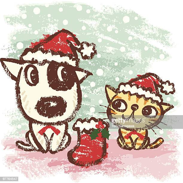 217 Christmas Cat High Res Illustrations Getty Images