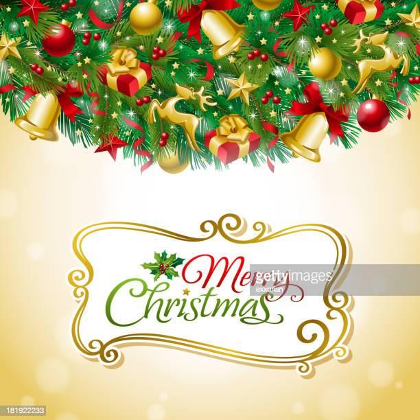 weihnachten frame - tannenzweig stock-grafiken, -clipart, -cartoons und -symbole