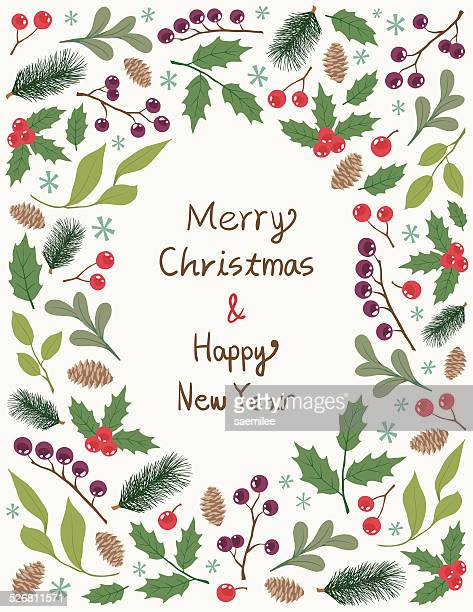 christmas frame with plants - pine wood material stock illustrations, clip art, cartoons, & icons