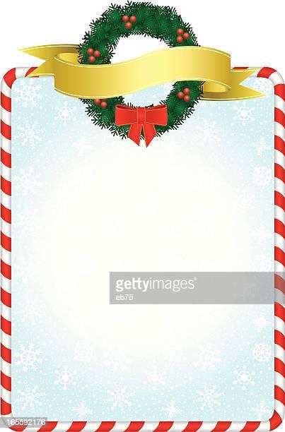 weihnachten-frame mit kranz - wasserform stock-grafiken, -clipart, -cartoons und -symbole