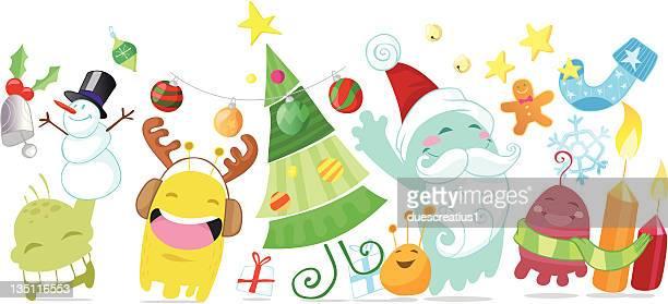 ilustraciones, imágenes clip art, dibujos animados e iconos de stock de navidad monstruos divertidos - galletas navidad