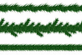 Christmas garland with fir branches. Set of green christmas tree branches borders isolated on white background