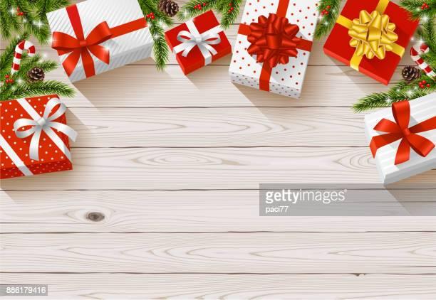 christmas gift backgrounds - christmas present stock illustrations
