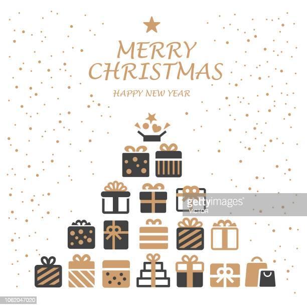christmas gift box - illustration series - christmas present stock illustrations